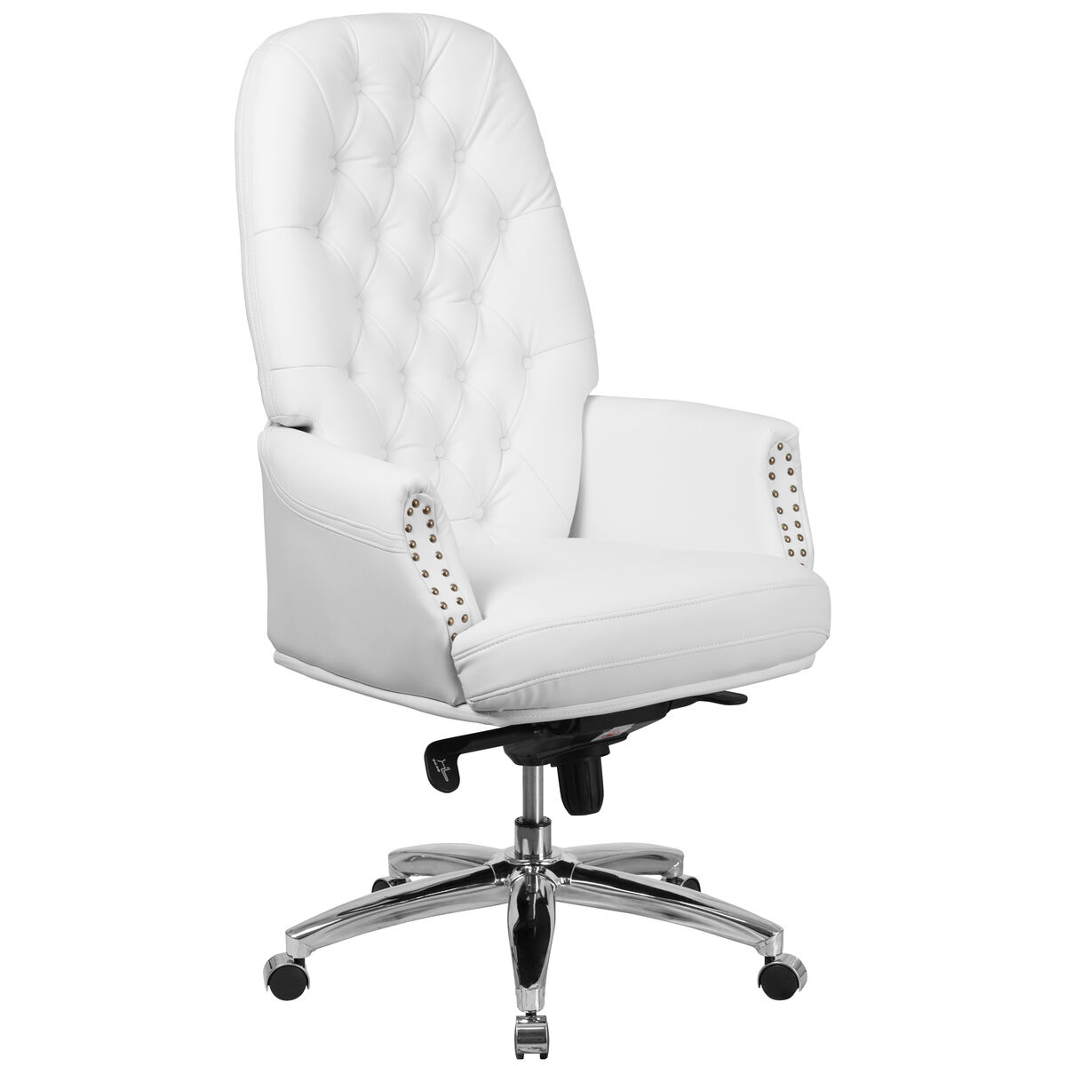 Our High Back Traditional Tufted White Leather Multifunction Executive Swivel Ergonomic Office Chair With Arms Is