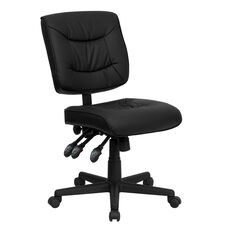 Mid-Back Black Leather Multifunction Swivel Task Chair