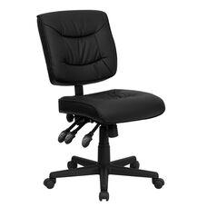 Mid-Back Black Leather Multifunction Swivel Ergonomic Task Office Chair