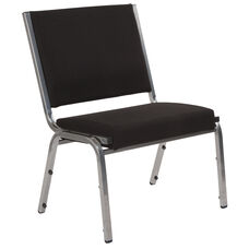 HERCULES Series 1500 lb. Rated Black Antimicrobial Fabric Bariatric Chair with Silver Vein Frame