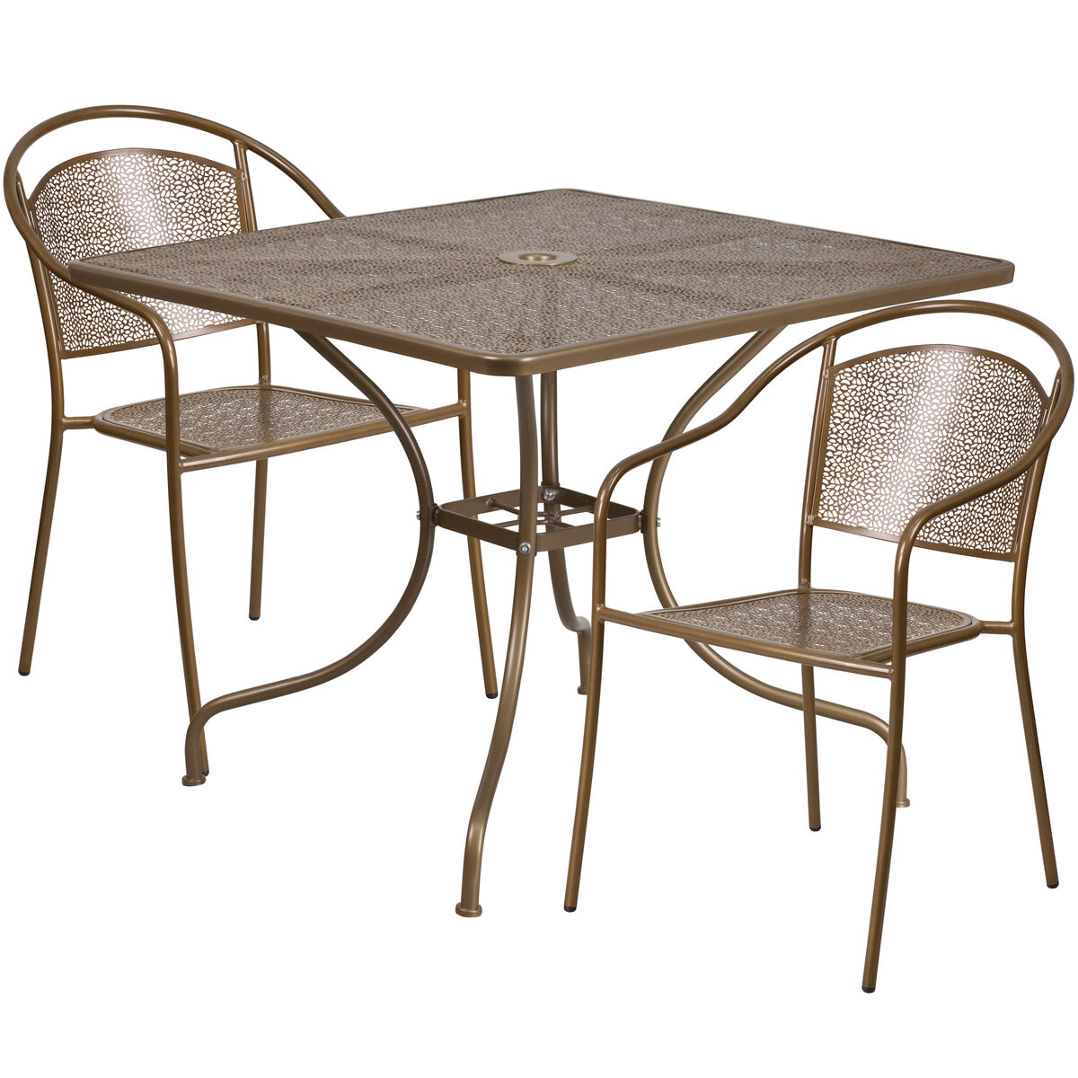 Sq gold patio table set co chr gd gg