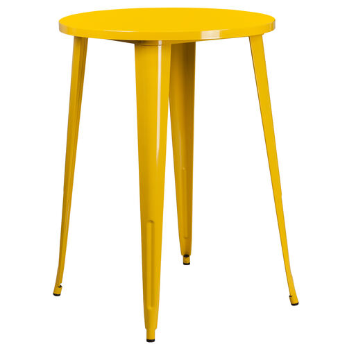 "Our Commercial Grade 30"" Round Yellow Metal Indoor-Outdoor Bar Height Table is on sale now."