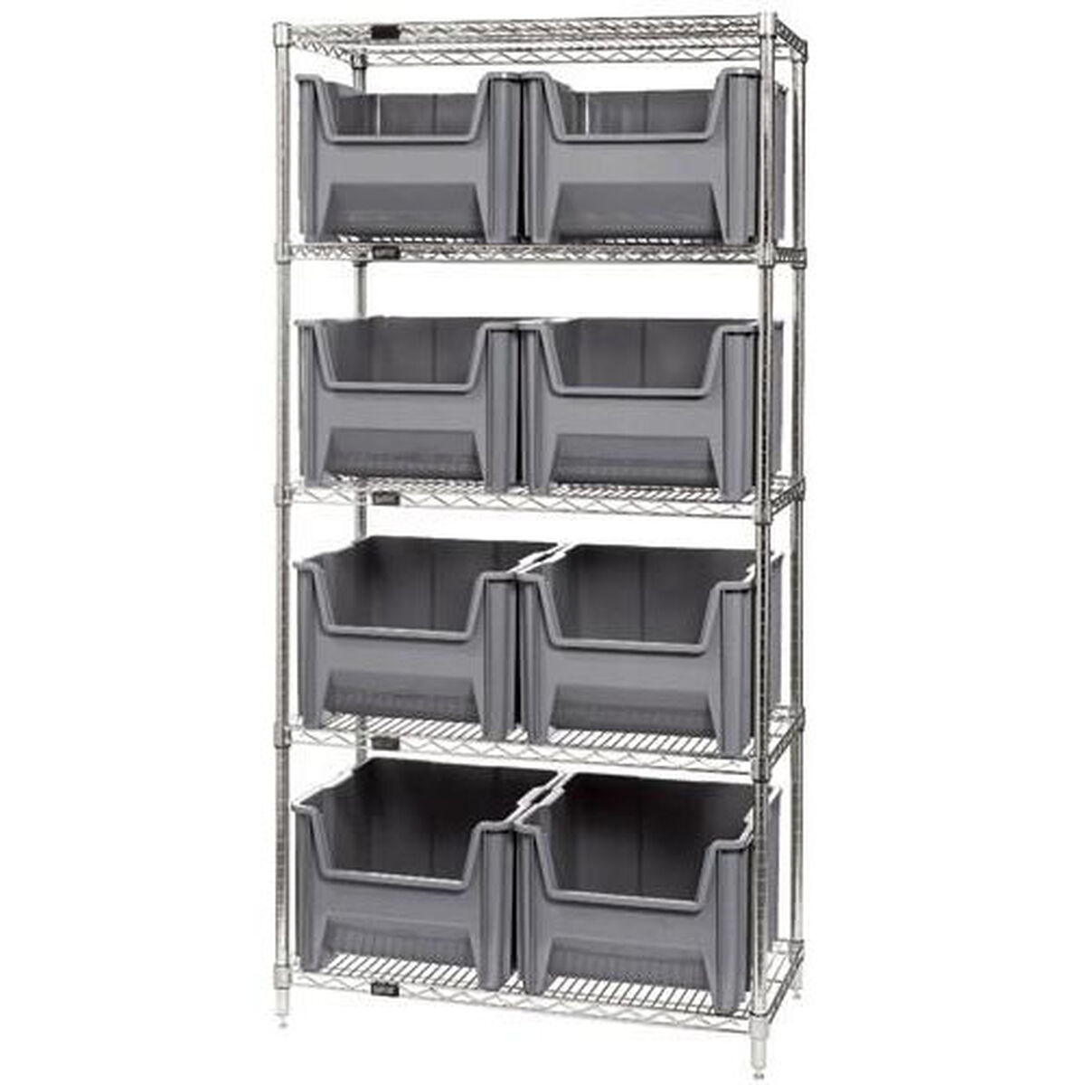Wire Shelving Unit with Bins Gray WR5-800-GY ...