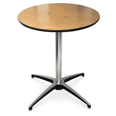 30''H Round Plywood Pedestal Table with Aluminum X-Base