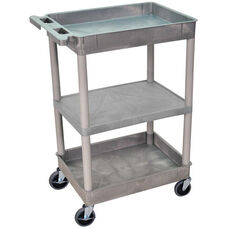 Heavy Duty Multi-Purpose Mobile Tub Utility Cart with 1 Flat Shelf and 2 Tub Shelves - Gray - 24