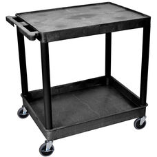 Heavy Duty Multi-Purpose Large Mobile Utility Cart with 1 Flat Shelf and 1 Tub Shelf - Black - 32