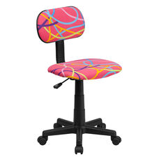 Multi-Colored Swirl Printed Pink Swivel Task Office Chair
