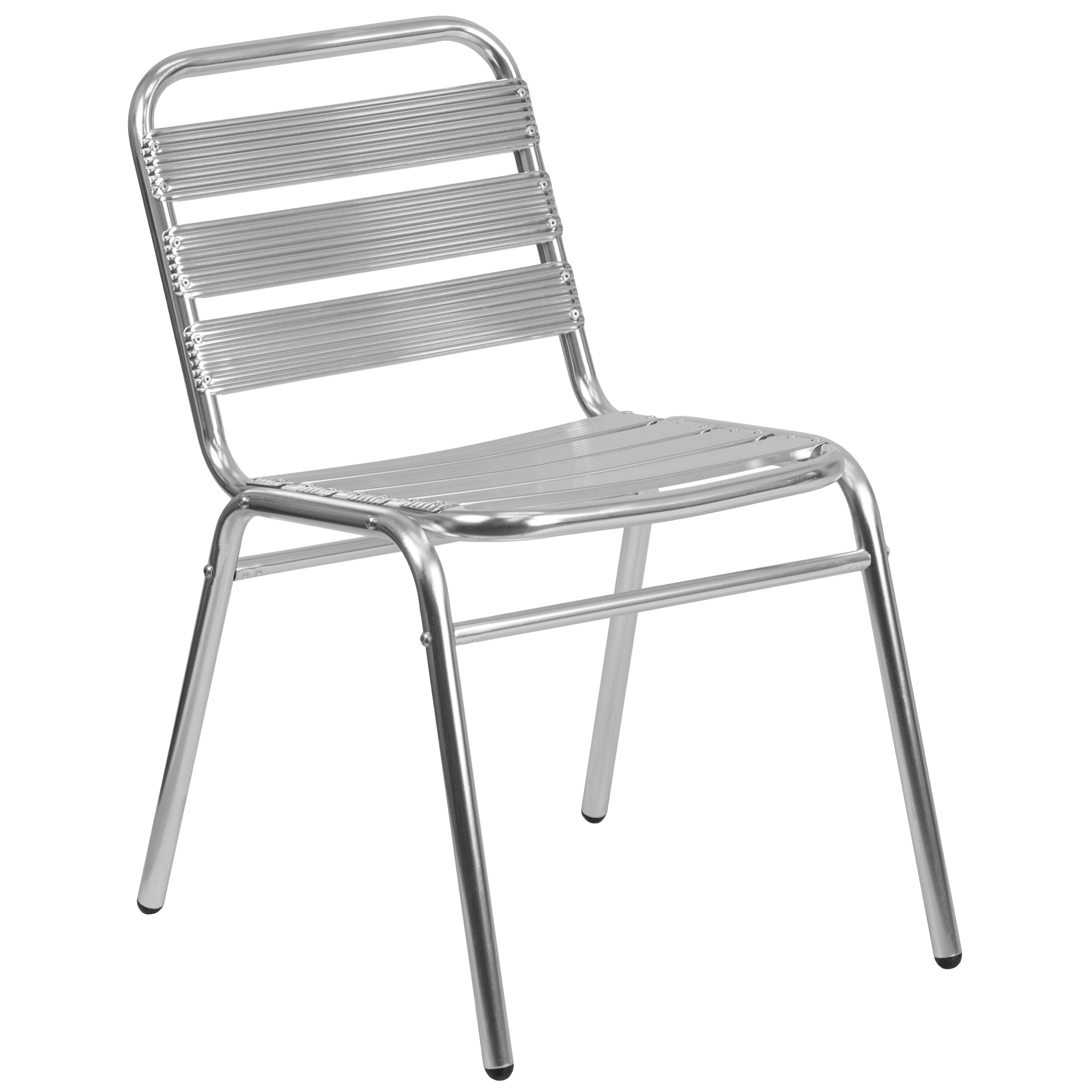 Commercial Aluminum Indoor Outdoor Restaurant Stack Chair With Triple Slat  Back