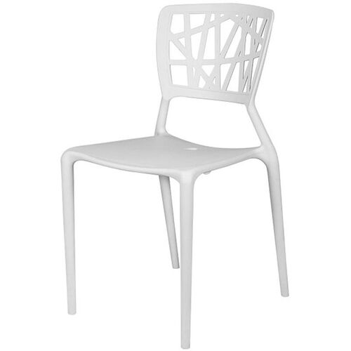 Phoenix Outdoor Stackable Armless Side Chair -White