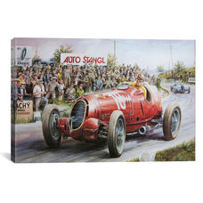 Alfa Romeo Heading To Victory Vintage Drawing by Unknown Artist Gallery Wrapped Canvas Artwork