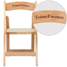 Personalized HERCULES Series Natural Wood Folding Chair with Vinyl Padded Seat