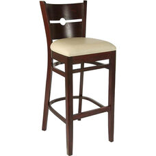 Coin Back Bar Stool in Dark Mahogany Wood Finish