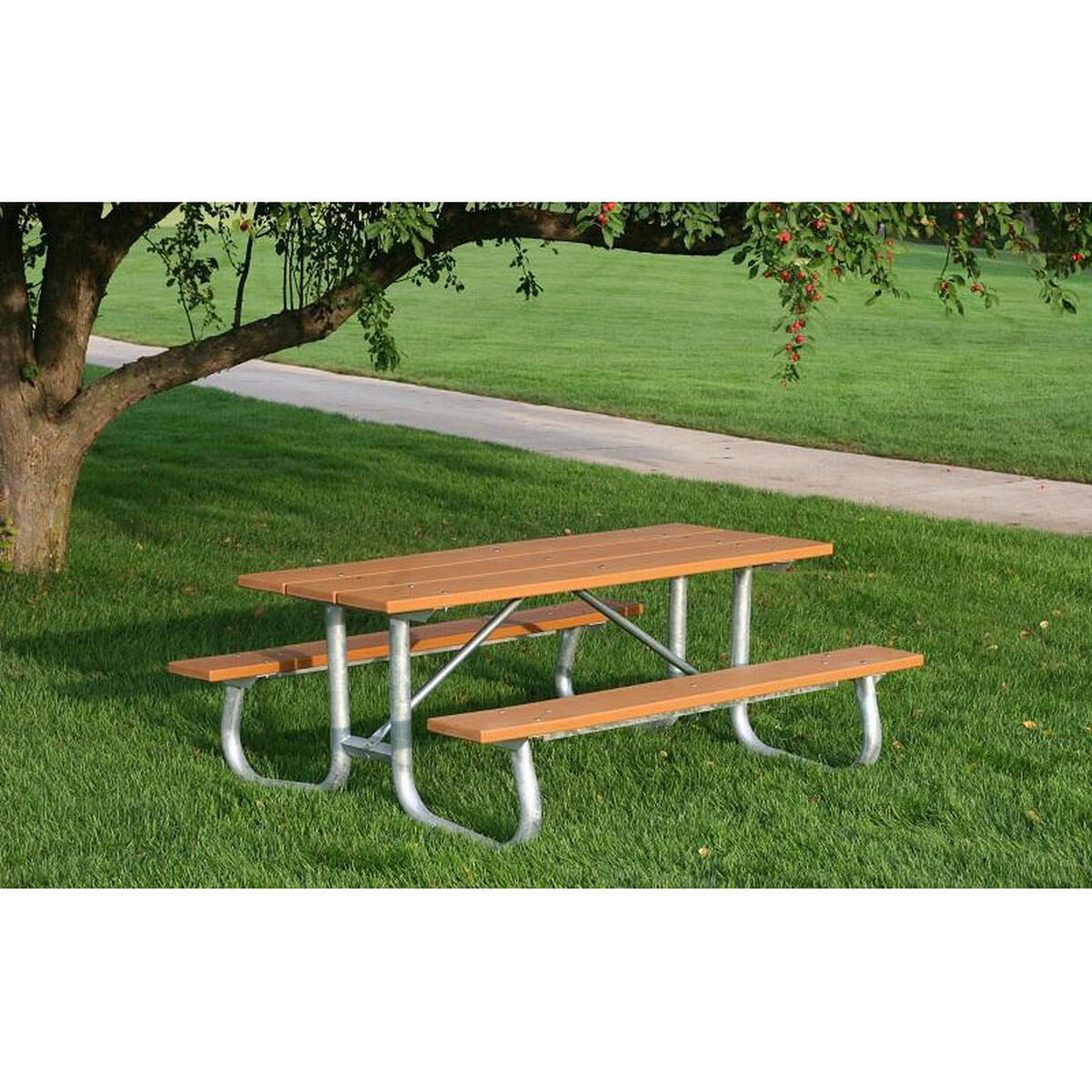 Galvanized Frame Picnic Table PBBLAGFPIC - Picnic table seats 8