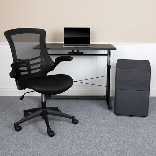 Work From Home Kit - Adjustable Computer Desk, Ergonomic Mesh Office Chair and Locking Mobile Filing Cabinet with Side Handles