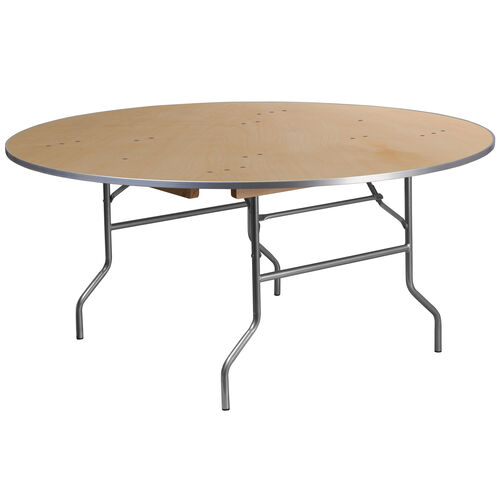 Our 5.5-Foot Round HEAVY DUTY Birchwood Folding Banquet Table with METAL Edges is on sale now.
