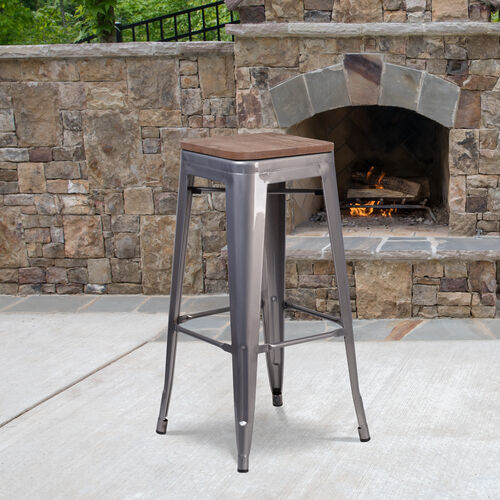 """Our 30"""" High Backless Clear Coated Metal Barstool with Square Wood Seat is on sale now."""