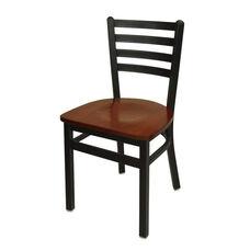 Lima Metal Ladder Back Chair - Mahogany Wood Seat