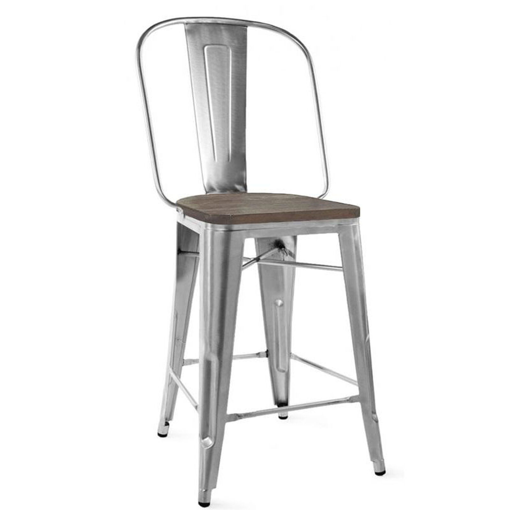 Design Lab Mn Dreux Steel Chair With Elm Wood Seat Set