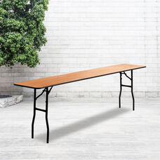 8-Foot Rectangular Wood Folding Training / Seminar Table with Smooth Clear Coated Finished Top