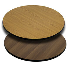 42 Round Table Top With Reversible Natural Or Walnut Laminate