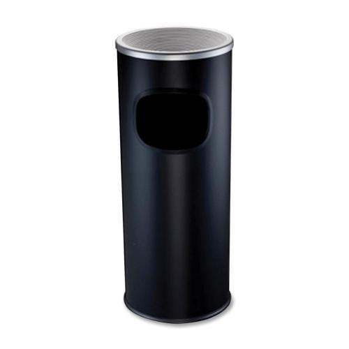 Genuine Joe Ashtray Receptacle - Fire -Safe - 3 Gal. - Aluminum - Black
