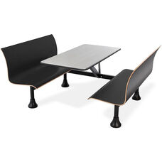 Retro Bench 24'' x 48'' Stainless Steel Top and Wall Frame - Black Seats