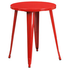 24 Round Red Metal Indoor Outdoor Table