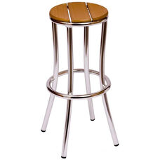 Norden Backless Barstool - Synthetic Teak Seat and Anodized Aluminum Frame