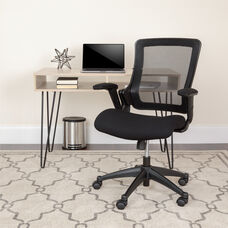 Mid-Back Black Mesh Executive Swivel Office Chair with Molded Foam Seat and Adjustable Arms