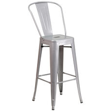 "Commercial Grade 30"" High Silver Metal Indoor-Outdoor Barstool with Back"