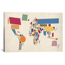 Geometric World Map (Abstract) by Michael Tompsett Gallery Wrapped Canvas Artwork