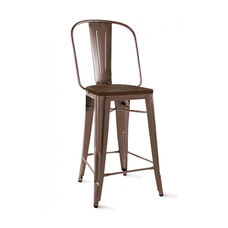 Dreux 30''H Rustic Matte Steel Bar Chair with Elm Wood Seat - Set of 4