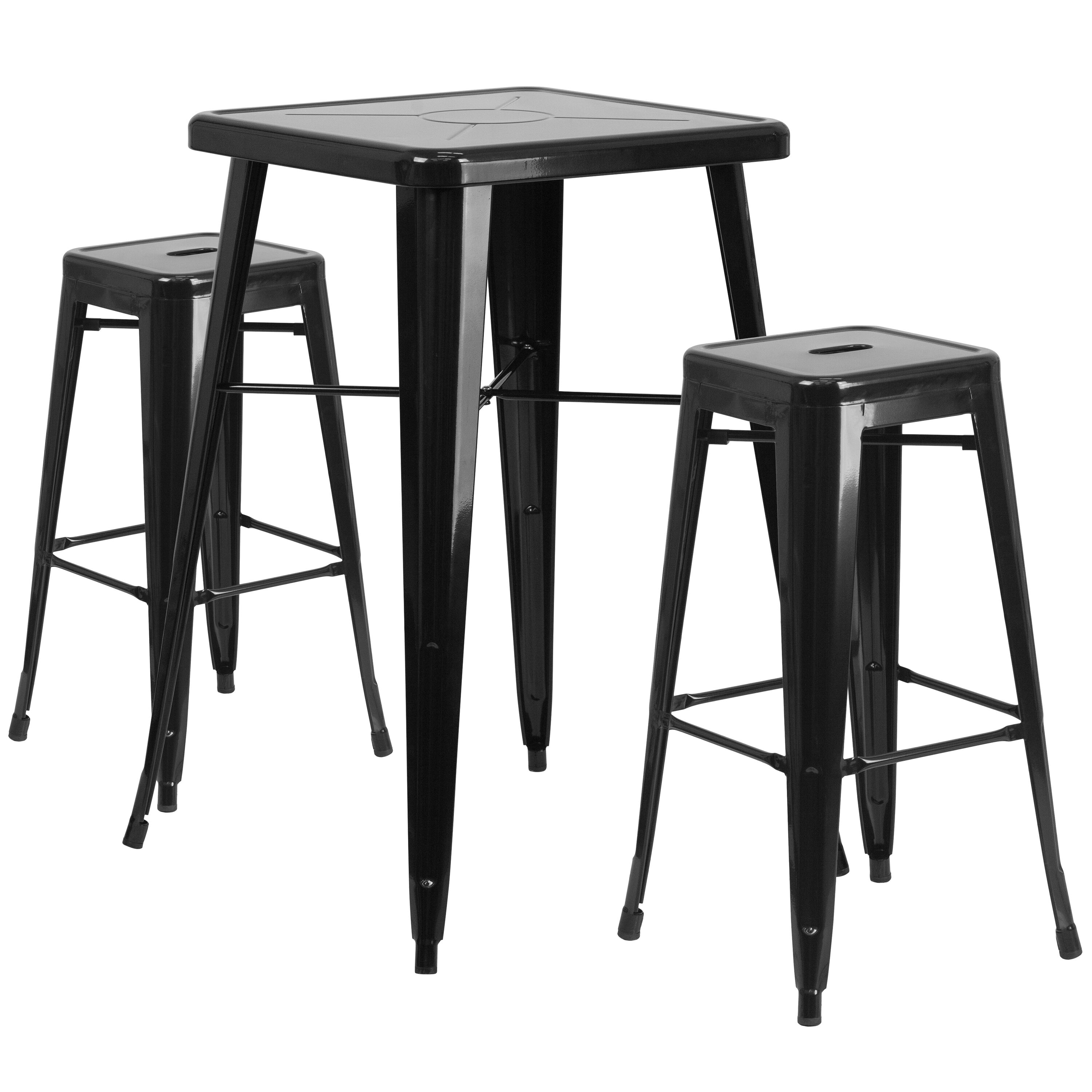 ... Our 23.75u0027u0027 Square Black Metal Indoor Outdoor Bar Table Set With 2  Square