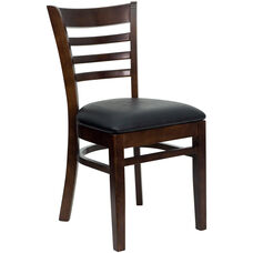 Walnut Finished Ladder Back Wooden Restaurant Chair with Black Vinyl Seat