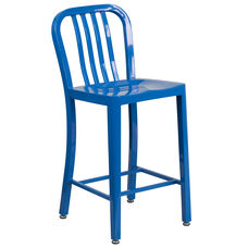 "Commercial Grade 24"" High Blue Metal Indoor-Outdoor Counter Height Stool with Vertical Slat Back"