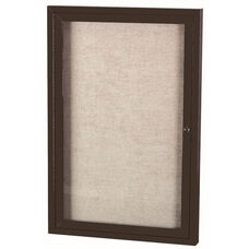 1 Door Outdoor Enclosed Bulletin Board with Black Powder Coated Aluminum Frame - 48