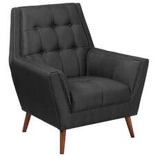 HERCULES Kensington Series Contemporary Black Fabric Tufted Arm Chair
