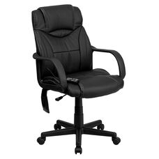 Mid-Back Ergonomic Massaging Black LeatherSoft Executive Swivel Office Chair with Arms