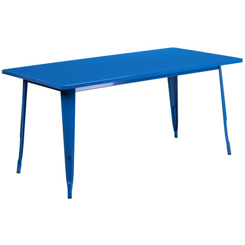 """Our Commercial Grade 31.5"""" x 63"""" Rectangular Blue Metal Indoor-Outdoor Table is on sale now."""