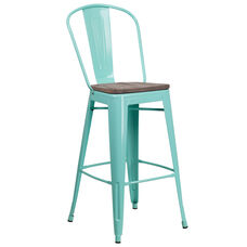 """30"""" High Mint Green Metal Barstool with Back and Wood Seat"""