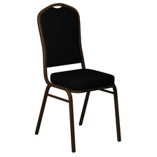 Embroidered Crown Back Banquet Chair in Sherpa Black Fabric - Gold Vein Frame