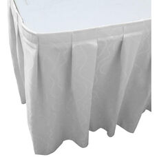 Wave 13 Foot Boxed Pleat Table Skirt with SnugTight™ Clips - White