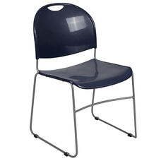 HERCULES Series 880 lb. Capacity Navy Ultra-Compact Stack Chair with Silver Powder Coated Frame