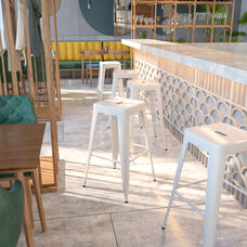 """Commercial Grade 30"""" High Backless White Metal Indoor-Outdoor Barstool with Square Seat"""
