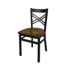 Akrin Metal Cross Back Chair - Walnut Wood Seat