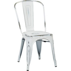 OSP Designs Bristow Stackable Armless Metal Chair - Set of 2 - Antique White