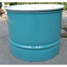 Turquoise Steel Drum Table with White Top