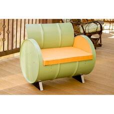 Jadeite Steel Drum Armchair with Mango Accents