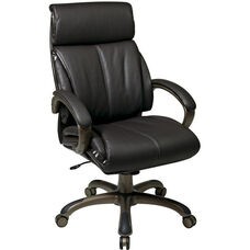 Work Smart Executive Eco Leather Chair with Locking Tilt Control and Cocoa Coated Base - Espresso
