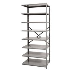 Hi-Tech Open Style 8 Adjustable Steel Metal Shelving Add On Unit - Unassembled - Dark Gray - 87